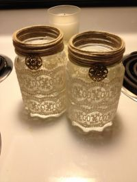Mason jar candle holders | Crafts | Pinterest