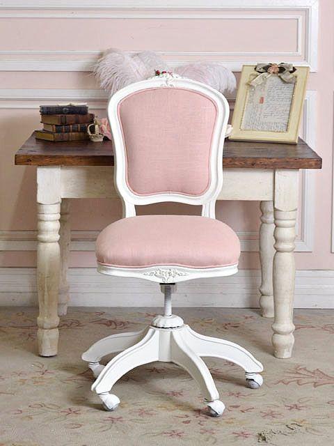 pink linen office chair  Home Sweet Home  Pinterest