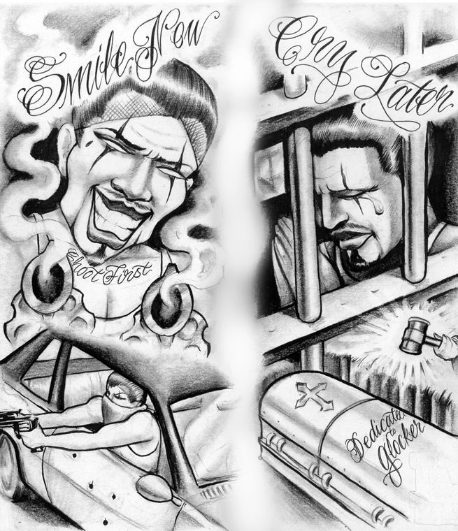 Smile Now Cry Later Drawing Gun