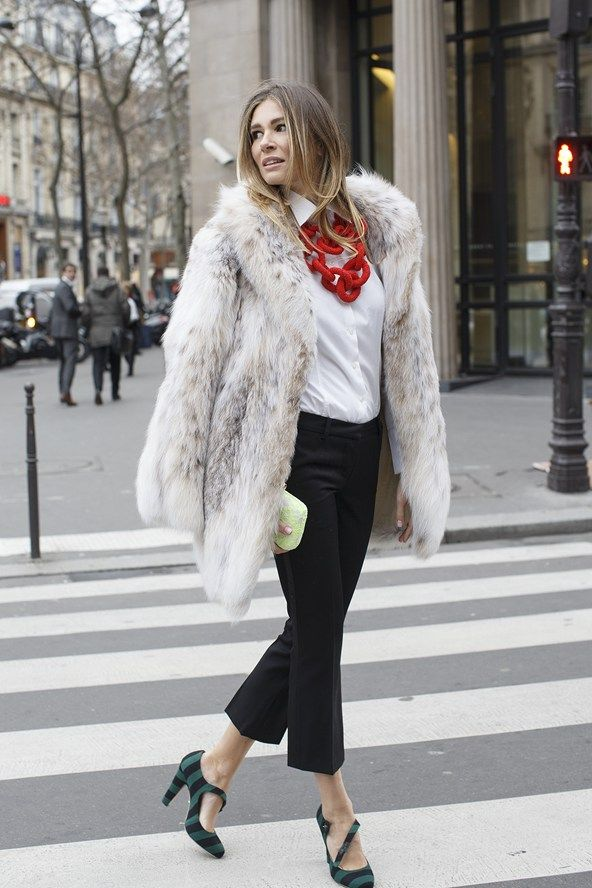 Prada coat and shoes, vintage Balmain trousers, YSL shirt, Kotur clutch, and EK Thongprasert necklace..