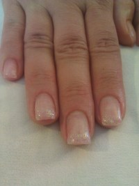 Gel nails with light pink glitter tips | Nail designs ...
