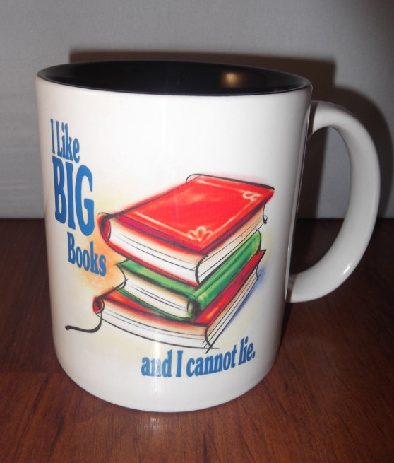 I like Big Books and I Cannot lie Coffee Mug for Book Lovers Gifts for Readers. $10.00, via Etsy.