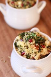 Crispy Kale Salad with Coucous, Grilled Chicken and Pomegranates