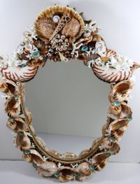 Shield Shaped Sea Shell Mirror With Coquina Beach Sand