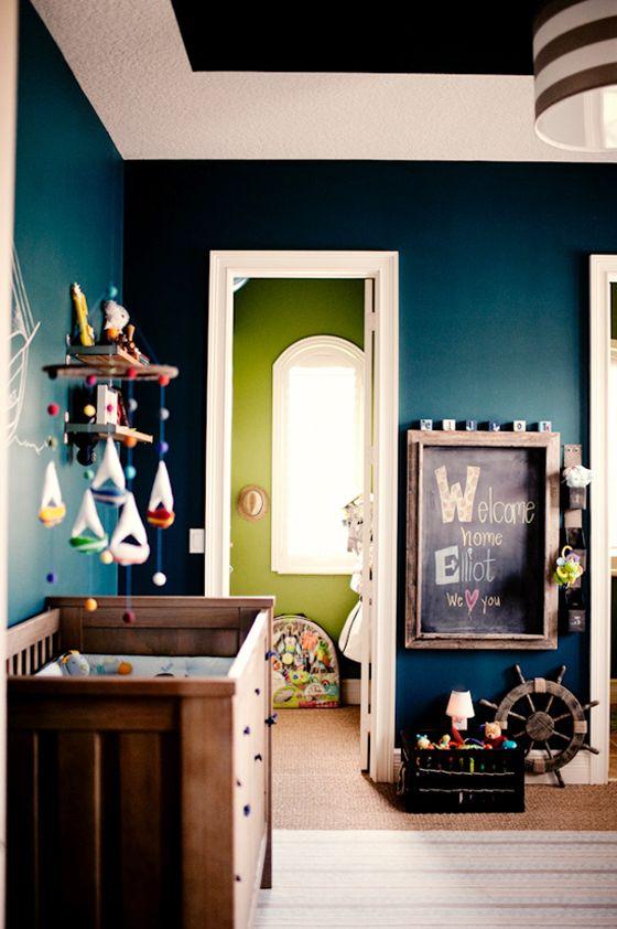 home design, home decor, dark colors, nursery, teal