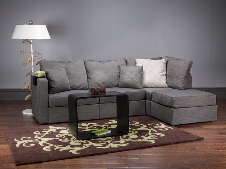 Lovesac Sactional 5 Series Four Cushion Chaise Sectional with Grey Tweed Covers  Home