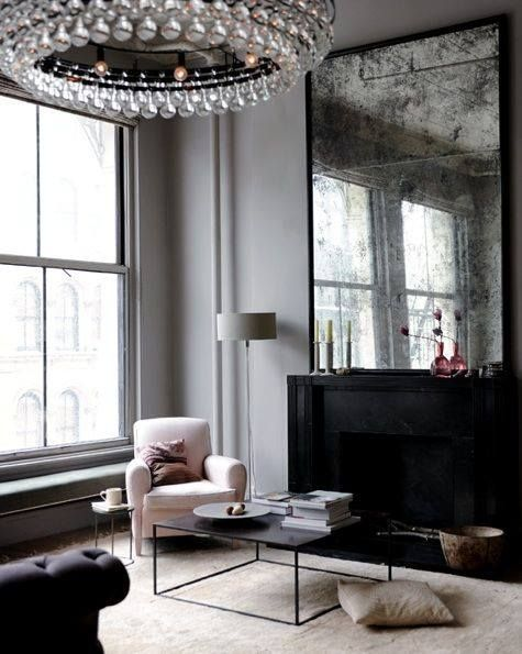 #PINK #CHAIR #GREY #WALLS #BLACK #FIREPLACE #PHOTOGRAPHY FROM http://www.ditteisager.dk/ #interior #design
