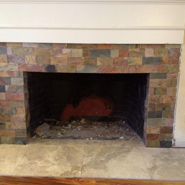 DIY fireplace cut slate tiles