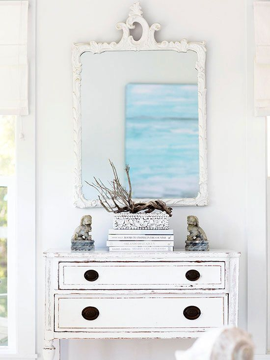 We love this rustic, nature-inspired entryway. More ways to decorate with natural elements: http://www.bhg.com/decorating/seasonal/fall/decorating-with-natural-elements/?socsrc=bhgpin060213allwhiteentry