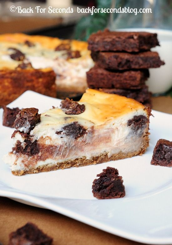 Brownie Stuffed Cheesecake with Peanut Butter Cookie Dough Crust!! http://backforsecondsblog.com #cheesecake #recipe #brownies #dessert