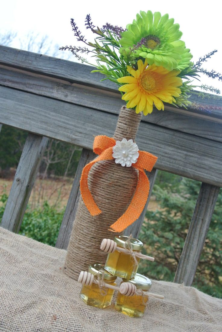 Rustic Wedding Decoration, Burlap Centerpiece, Wine Bottle Flower Vase, Bridal Shower Decor, Favors Table Decor. $38.50, via Etsy.