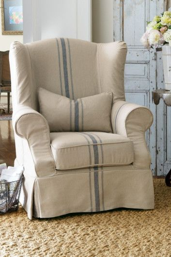 Cottage Slipcovered Wingback Chair  Color Blue