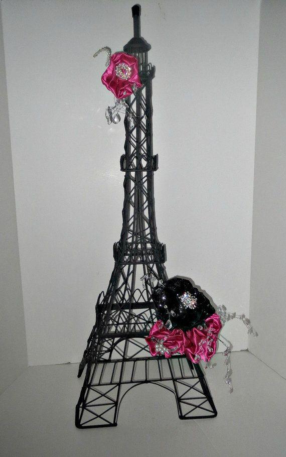 Unique elegant Parisian sweet 16 centerpiece Eiffel Tower