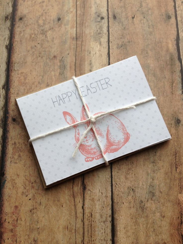 Easter Cards - happy easter cards - set of 4 mini cards with kraft brown envelopes - easter bunny cards - happy easter. $10,00, via Etsy.