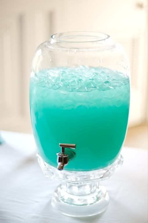Tiffany Punch. Equal parts Blue Hawaiian Punch and Country Time Lemonade - Wouldn't this be cute for an engagement party, wedding shower, or girls' night in?