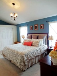 Blue and coral Master bedroom decor | For the Home | Pinterest