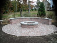 Fire pit & bench with pavers. | Outdoor comfort | Pinterest