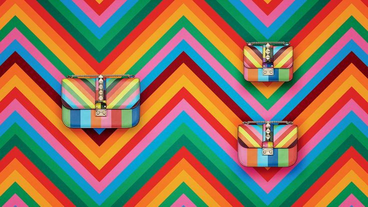 ItBag 2015 Valentino Rockstud Multicolor Chevron Shoulder Bag