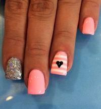 Pink/ coral gel nail designs | nail designs and nail art ...