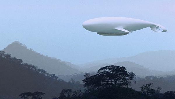 """Manned Nube di Jean Marie Massaud, l '""""albergo volante"""" dall'aspetto di un'enorme balena bianca, le cui larghe pinne Sono Fatte per Attraversare le nuvole e il cielo, invece il Che per immergersi Nelle Profondità Degli Oceani"""