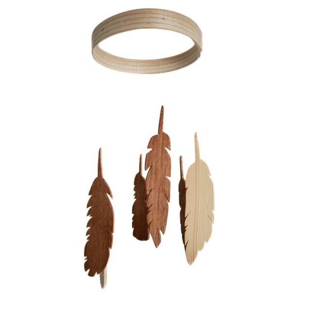 Feather Mobile - Wooden Mobile - Wood Feather Mobile - Nursery Mobile ...