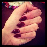 Dark red stiletto nails | Stiletto nails | Pinterest