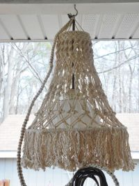Macrame hanging lamp, vintage lighted chandelier, swag ...