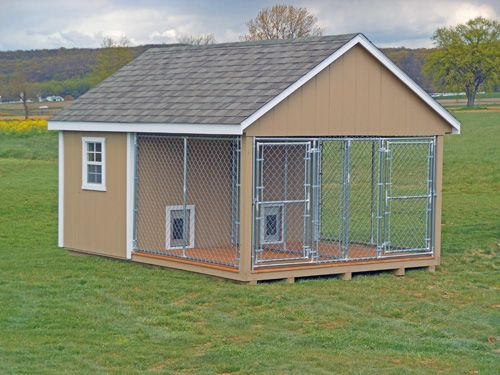 double dog house with kennel | Buy Outdoor Dog Kennels | Dog Houses | Amish built Animal Shelters