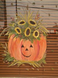 Fall storefront window Art | paint on old windows | Pinterest