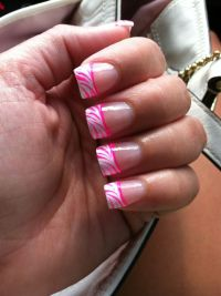 Nails, white tip hot pink zebra! | My own pics. | Pinterest