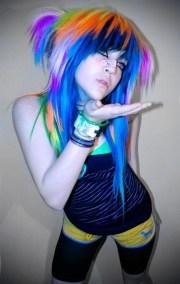 rainbow emo scene hair