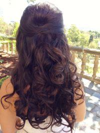 Wedding hair, long hair curly half up half down | Hair ...