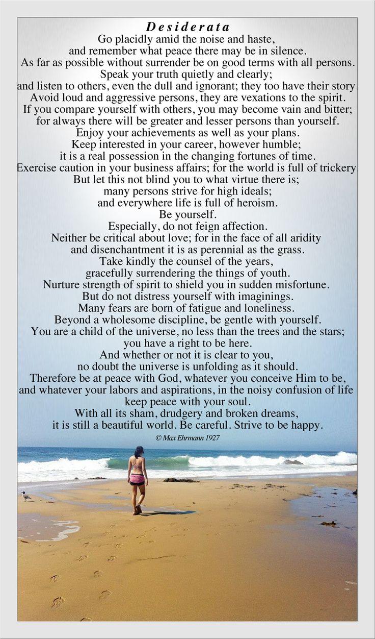 My favorite poem. Desiderata
