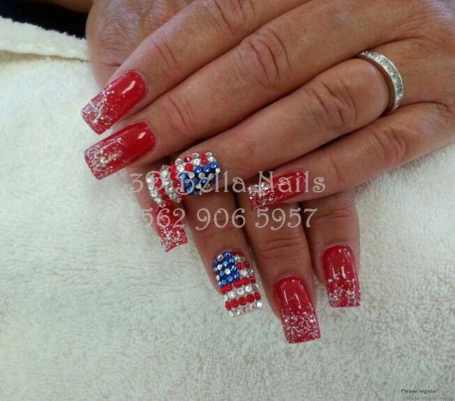 4th Of July Nails 3d Nails Art Pinterest