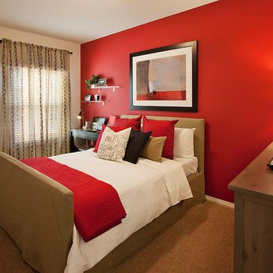 red accent bedroom Pinterest