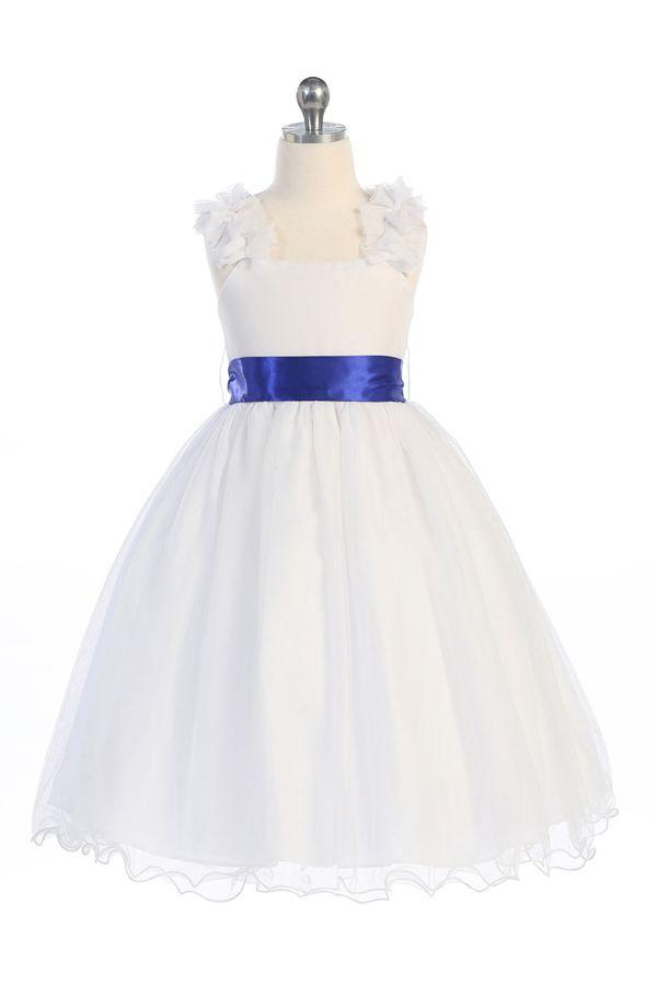 Flower Girl Dresses #CA909W : Sleeveless Mesh Dress W/ Choice of sash color options