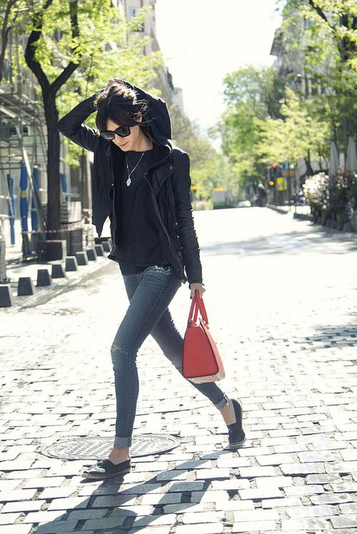 Basics: skinny jeans, fitted leather jacket, Chanel canvas espadrille flats #StreetStyle