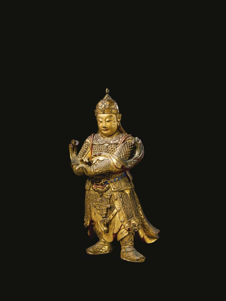 A LARGE GILT-LACQUERED WOOD FIGURE OF WEITUO<br>CHINA, MING DYNASTY, 17TH CENTURY | Lot | Sotheby's