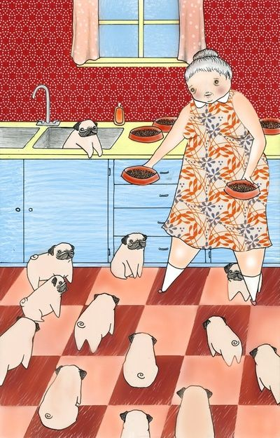 """This will be me someday. An old lady with a house of pugs, instead of the typical """"cat lady."""" My children will definitely worry that I have lost my mind. Jon will probably move out. I will be a pug hoarder. ;)"""