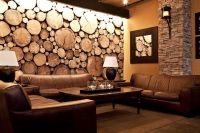 sliced tree trunks wall   wood. wall decor   Pinterest