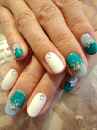 Pretty white teal and aqua nails | Nails | Pinterest