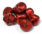25mm Matte Red Jingle Bells - 8pcs