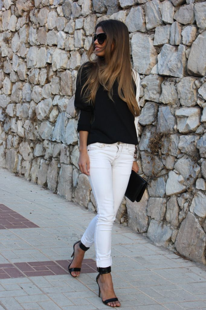 classy black and white...Why do I always forget to wear my white jeans with a pretty black top???
