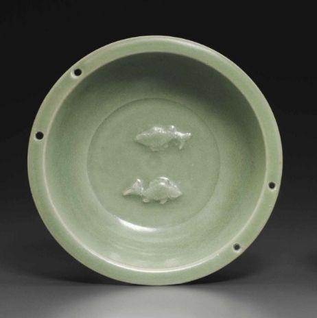 A Longquan celadon 'Twin Fish' dish, Southern Song Dynasty (1127-1279)