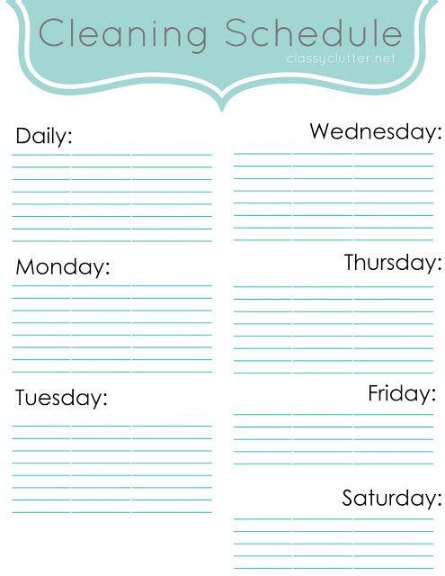 Weekly Cleaning Schedule #freeprintable