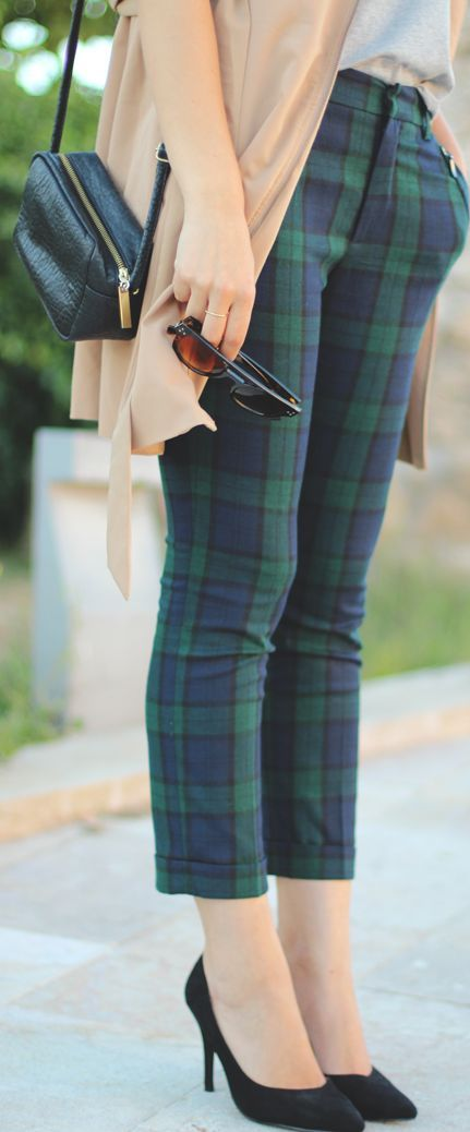 Plaid Pants in green and blue. #tartan