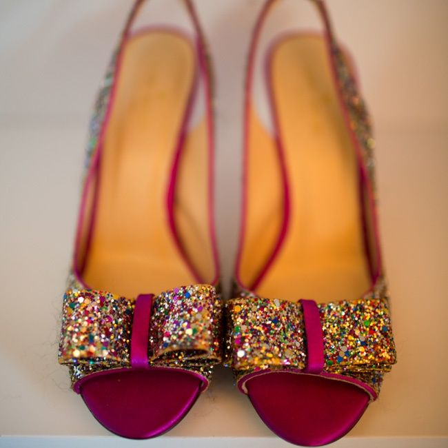 Kate Spade Glitter Shoes // Robert Norman Photography // http://www.theknot.com/weddings/album/a-vintage-vineyard-wedding-in-stonington-ct-133895