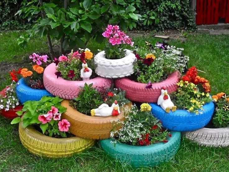 Flowers in tires