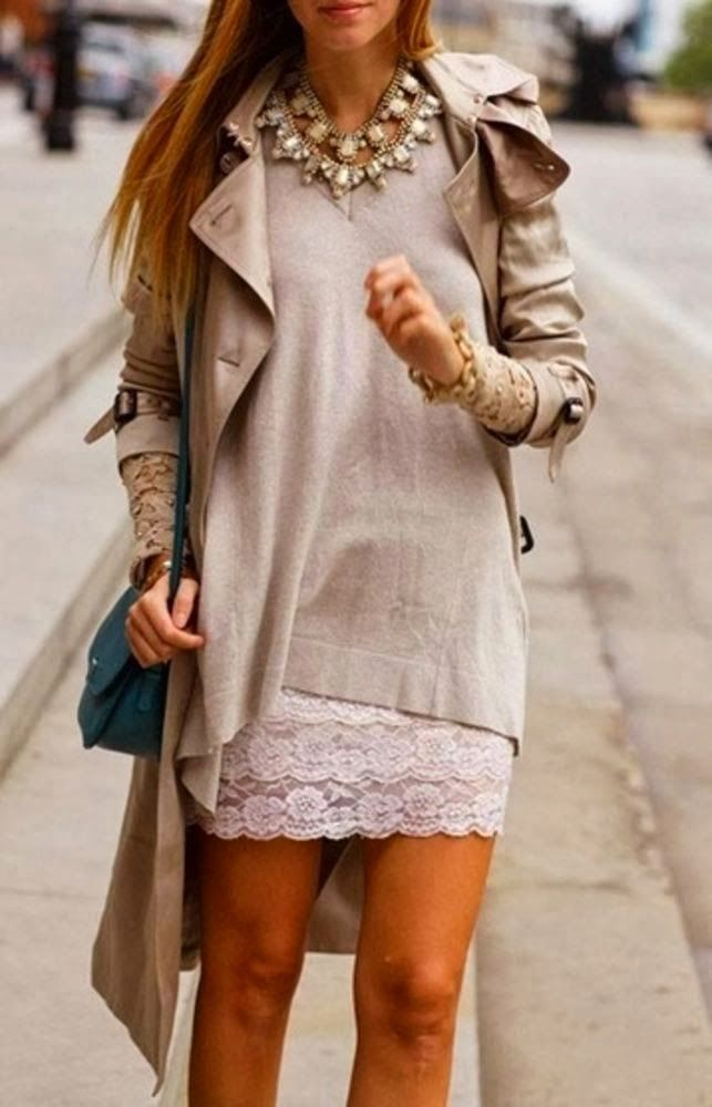 Lace Skirt With Plain Sweater and Trench Coat
