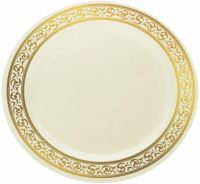 "Elegant Disposable 10.25"" Plastic Ivory And Gold Dinner ..."